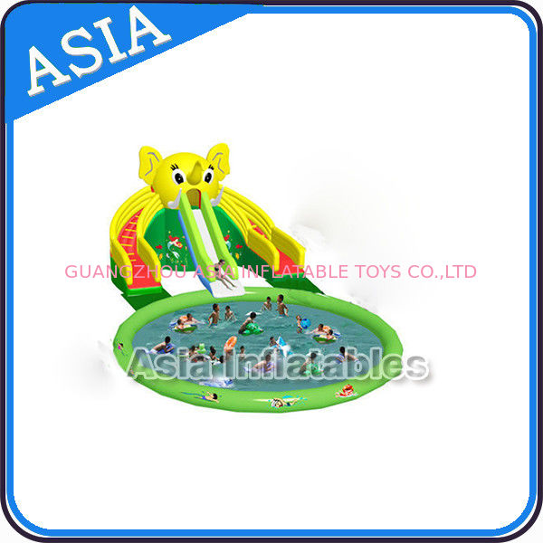 Theme Inflatable Water Park Slides , Elephant Water Slide , Outdoor Playground Water Park